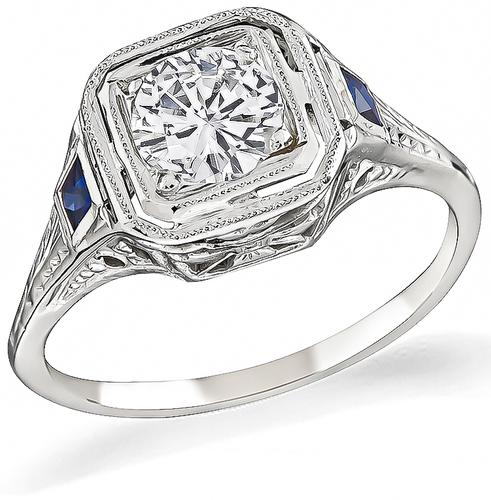 Round Cut Diamond Sapphire 18k Gold Engagement Ring