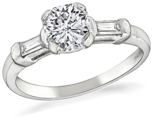 Octagon Shape Diamond Platinum Engagement Ring