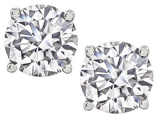 Round Cut Diamond Platinum Studs Earrings