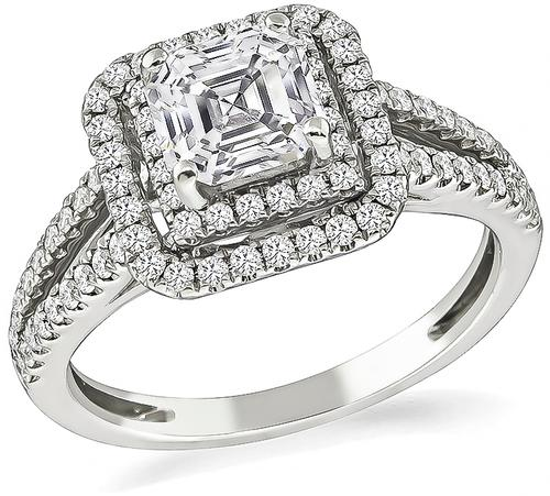 Asscher Cut Diamond 14k White Gold Engagement Ring