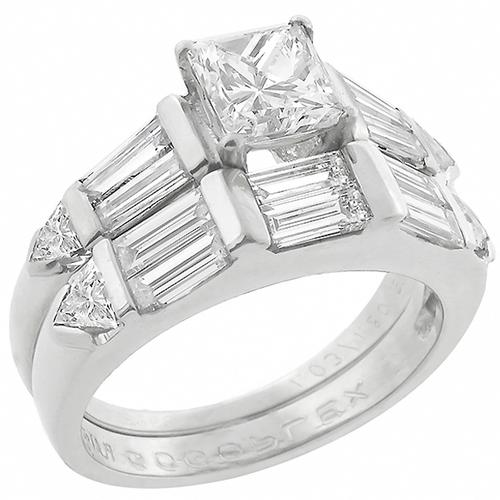 Vintage GIA Certified 1.22ct Princess Cut Diamond Platinum Engagement Ring and Diamond Platinum Wedding Band Set