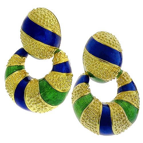Enamel Doorknocker Earrings