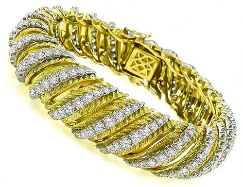 Round Cut Diamond 18k Yellow Gold Platinum Bracelet by Hammerman Brothers