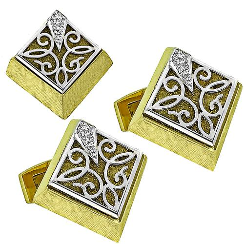 Dunay 0.50ct Diamond  Gold Cufflinks & Tie Tuck Set