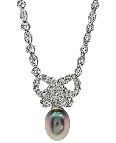 Round Cut Diamond South Sea Pearl 18k White Gold Necklace