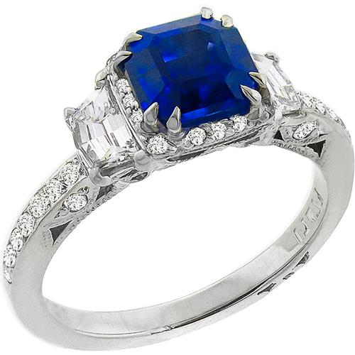 ct gold lion carat rose sapphire blue asscher cut f ring product engagement victorian diamond landseer