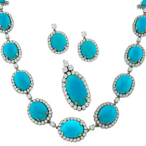 Turquoise 24.50ct Diamond Gold Necklace & Earring Set