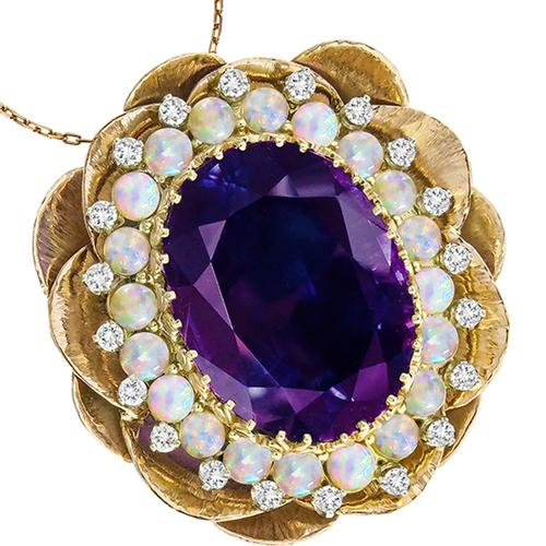 Amethyst Opal Diamond 14k Yellow  & White Gold Lotus Pin/ Pendant