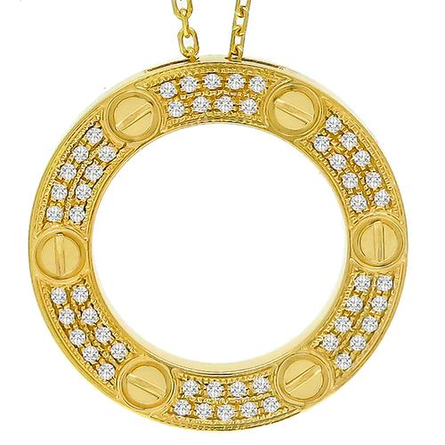 Buy estate cartier 034ct round cut diamond 18k yellow gold love cartier 034ct diamond gold love pendant aloadofball Choice Image