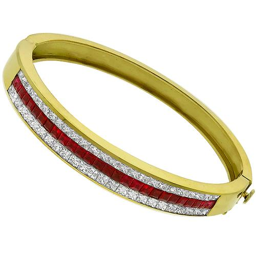 Estate Diamond Ruby Gold Bangle
