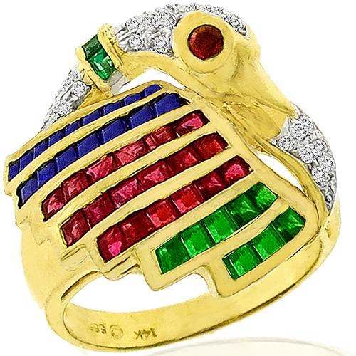 Diamond Multi Color Precious Stone Gold Swan Ring