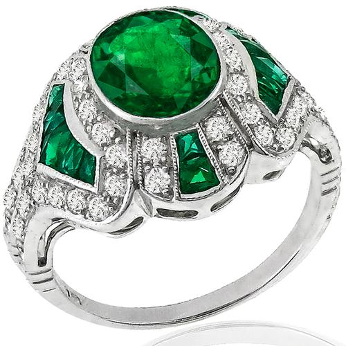 1.69ct Emerald Diamond Platinum Ring