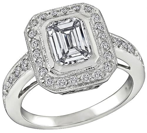 Emerald Cut Diamond 18k White Gold Engagement Ring and Wedding Band Set