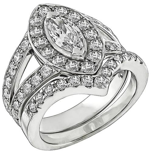 0.51ct Marquise Cut Diamond 1.50ct Round Cut Diamond Engagement Ring and Wedding Band Set
