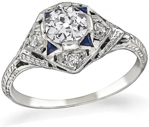 Estate Old European Cut Diamond Sapphire 18k Gold Engagement Ring