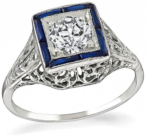 Vintage Old European Cut Diamond Sapphire 18k White Gold Engagement Ring