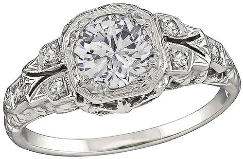 Estate Round Cut Diamond 18k White Gold Engagement Ring