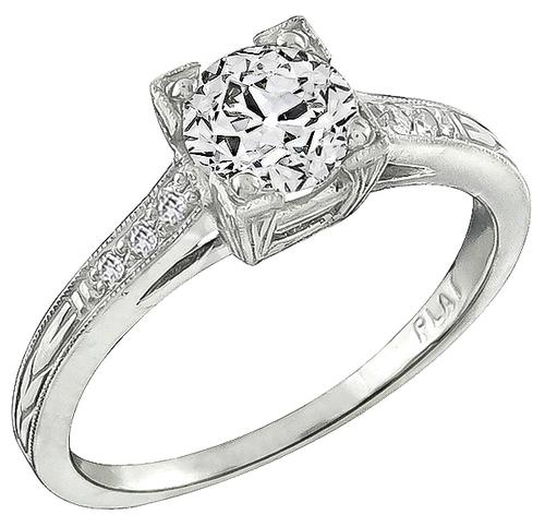 Estate Old Mine Cut Diamond Platinum Engagement Ring