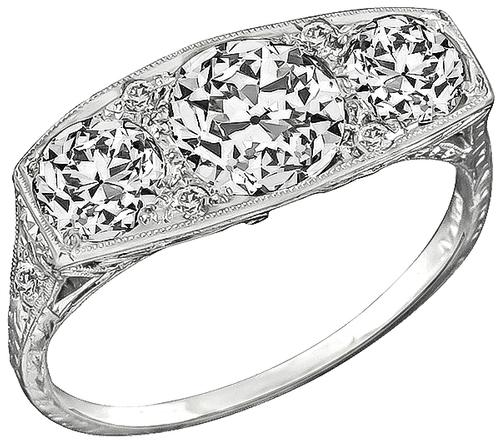 Art Deco Old Mine Cut Diamond Platinum Anniversary Ring