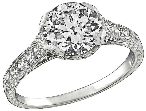 1.54ct Round Cut Diamond 0.45ct Round Cut Diamond Platinum Enagagement Ring
