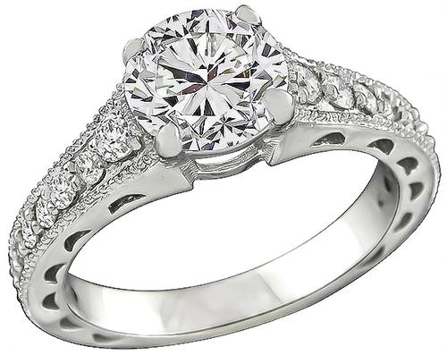 Round Brilliant Cut Diamond 18k White Gold Engagement Ring and Wedding Band Set