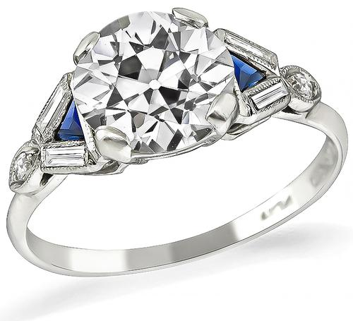 Vintage Old European Cut Diamond Sapphire Platinum Engagement Ring