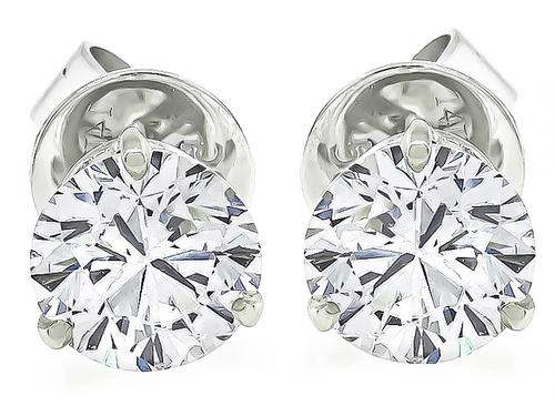 Round Cut Diamond 14k Gold Studs Earrings