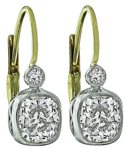 Cushion Cut Diamond Platinum and 14k White Gold Earrings