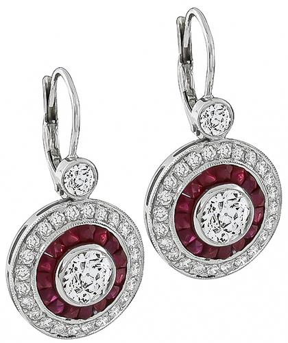 Old European Cut Diamond French Cut Ruby 14k White Gold Earrings