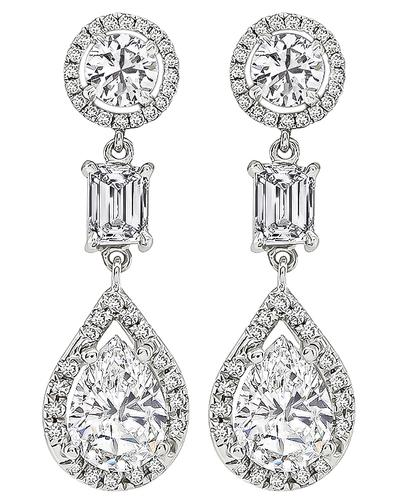 Pear Emerald and Round Cut Diamond 14k and 18k White Gold Drop Earrings