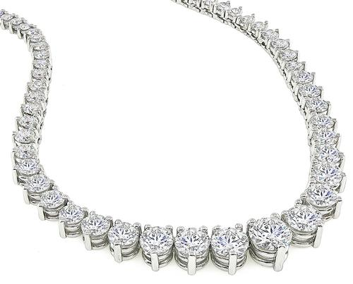 Estate 14.25cttw Diamond 18k Gold Riviera Necklace