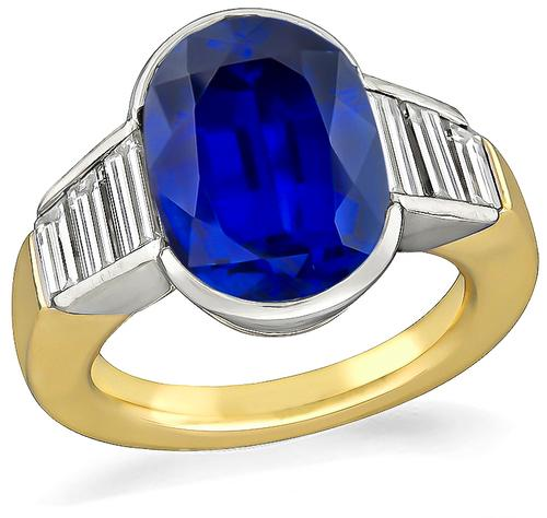 Cushion Cut Ceylon Sapphire 18k Gold Engagement Ring