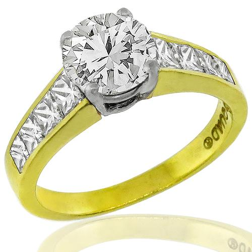 GIA 1.04ct Diamond Gold Engagement Ring