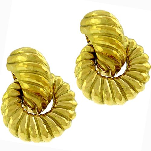 18k Yellow Gold Carved and Hammered Doorknocker Earrings