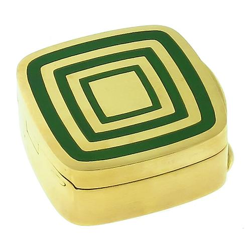 Estate Green Enamel 18k Yellow Gold  Pill Box By Gucci