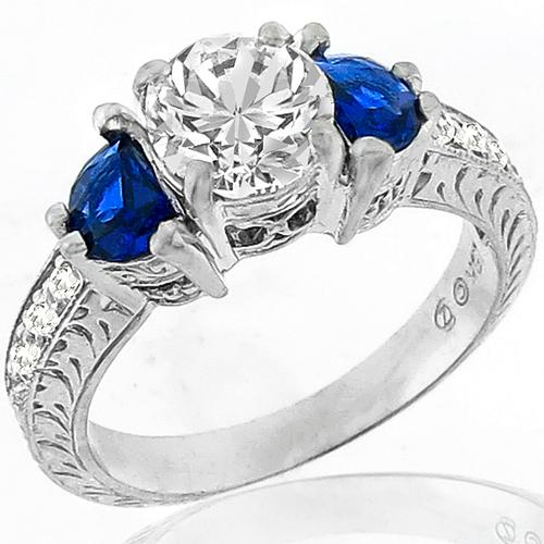 1.49ct Diamond Sapphire Gold Engagement Ring