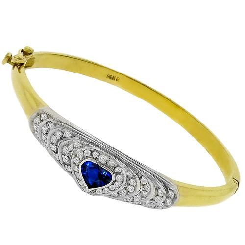 2.00ct Sapphire 0.75ct Diamond Gold Bangle