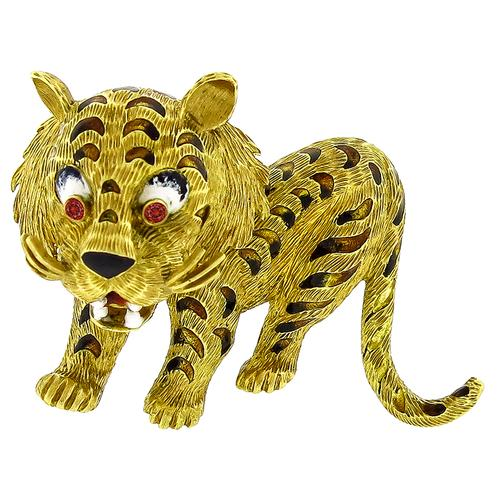 Gold Ruby Enamel Tiger Pin