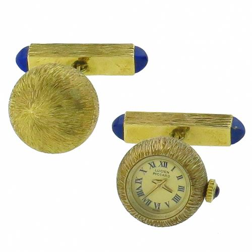 14k Yellow Gold Sugar Loaf Lapis Sapphire  Lucien Piccard Watch Cufflinks