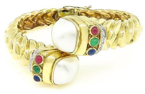 Round Cut Diamond Cabochon Emerald Ruby and Sapphire Mabe Pearl 14k Gold Bangle