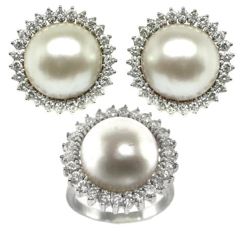 1960s Round Cut Diamond Mabe Pearl Platinum Ring and Earrings Set