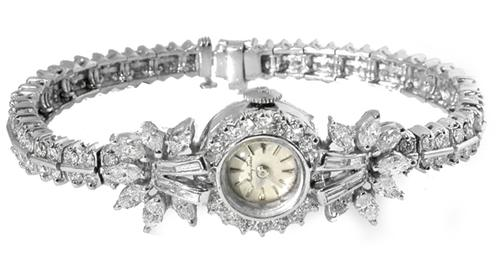 1930s Mathey Tissot 5.00ct Diamond Platinum Bracelet Watch