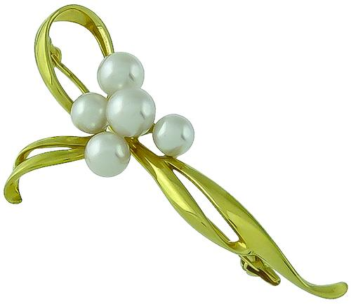 18k Yellow Gold Pearl Pin by Mikimoto
