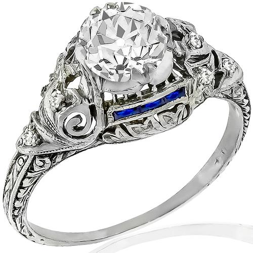Art Deco GIA 1.07ct Diamond Sapphire Engagement Ring