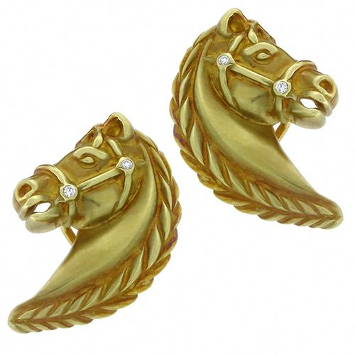 Vintage Estate  0.25ct Diamond  18k Yellow Gold Horse Earrings   By Nancy David