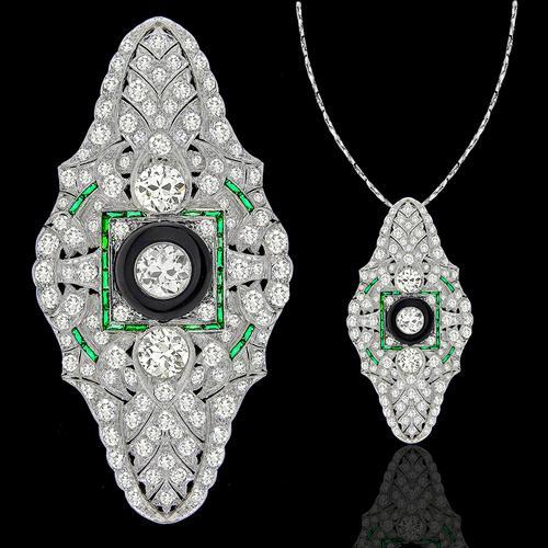 dd732ff382757 Antique Old European Diamond Emerald Onyx Pin/ Pendant   Israel Rose