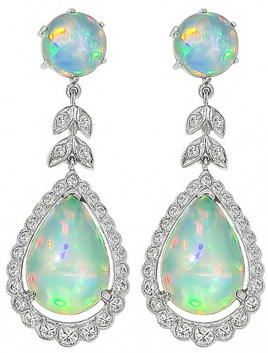 Round and Pear Shape Opal Round Cut Diamond 18k White Gold Earrings