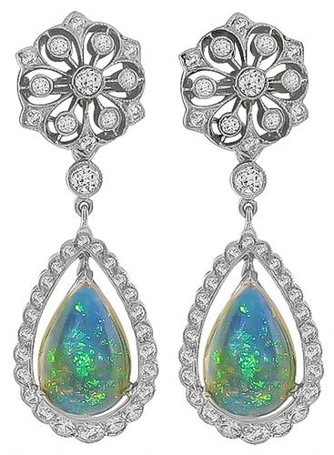 Edwardian Style Pear Shape Opal Round Cut Diamond 18k White Gold Earrings