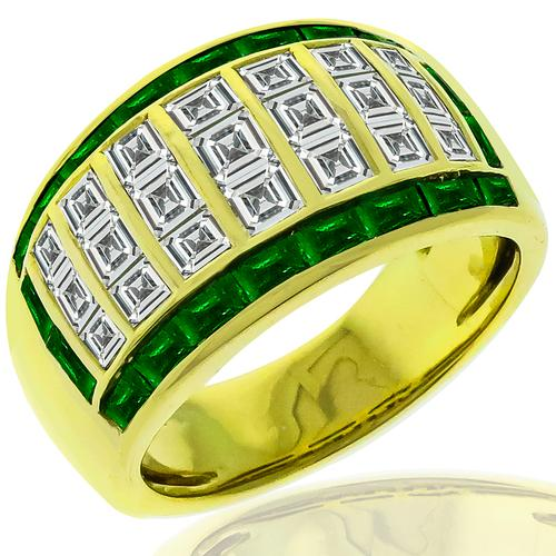 1.68ct Diamond 0.60ct Emerald Gold Ring