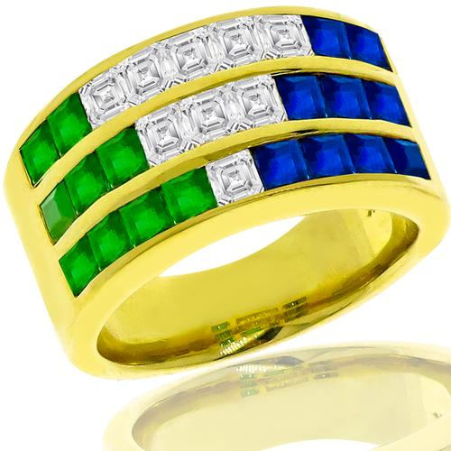 1.30ct Sapphire 0.84ct Emerald 0.71ct Diamond Gold Ring